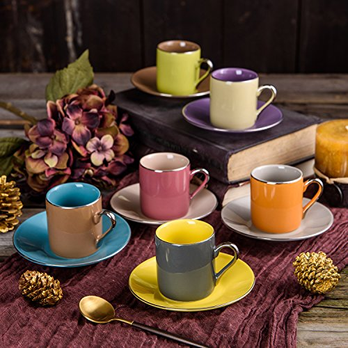 ARTVIGOR, Porzellan Kaffeeservice, 12 tlg. Kaffeetassen Set, mit 6 Espressotassen 80 ml, 6...
