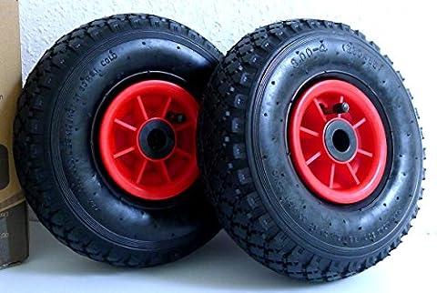 Pneumatic Tyre 3.00-4(2PR), 260x85mm Replacement Wheel for Sack Trolley, Wheelbarrow Set of 2 Wheels