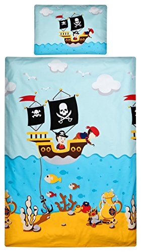 feuerwehr bettwaesche fuer erwachsene Aminata Kids Kinder-Bettwäsche 100-x-135 cm Pirat-en Piraten-Schiff Schatz Toten-Kopf-Flagge Baby-Bettwäsche 100-% Baumwolle Renforce Bunte hell-blau Junge-n