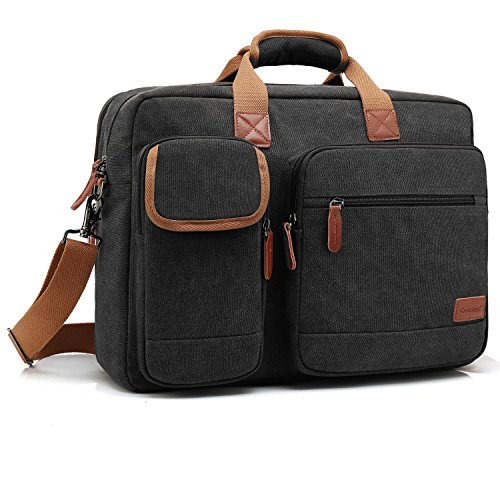 CoolBell 15.6 Inch Laptop Tasche Aktentasche Herren schützend Messenger Bag Umhängetasche Notebook Schultertasche Multifunktional Henkeltasche Laptoptasche für 15-15,6 Zoll MacBook,Canvas Schwarz