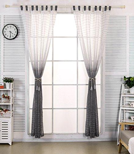 EUGAD Gardinen 2er Set transparent mit Schlaufen Farbverlauf mit Streifen Leinen Vorhang Schlaufenschal Stores Dekoschal Wohnzimmer Kinderzimmer 140x225 cm Weiß + Schwarz VH5855sz1-2