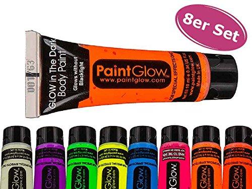 Body Paint, nachtleuchtend (glow in the dark), 8er Set - Neon Schminke, Körperfarben, Körpermalfarbe