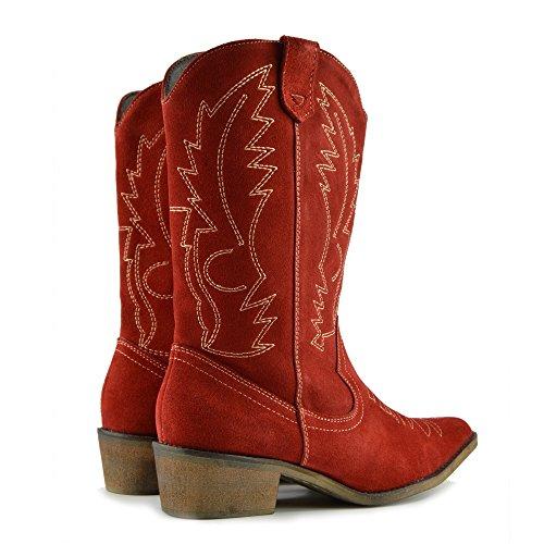 Damen Western Leder Cowboy Stiefel Spitz Zehen Damen Breite Kalb Stiefel Rot