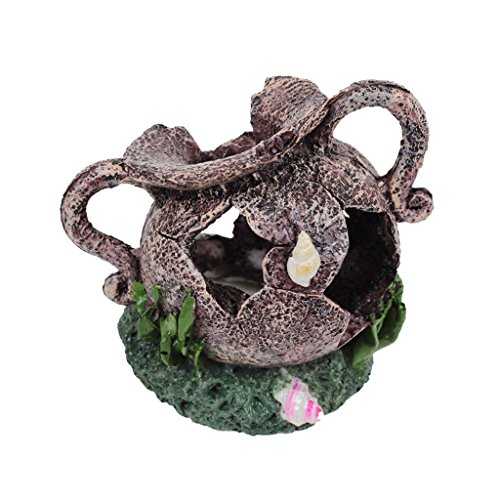 Zerbrochene Vase Topf Fisch Garnelen Versteck Hoehle Aquarium Ornament Dekor Harz