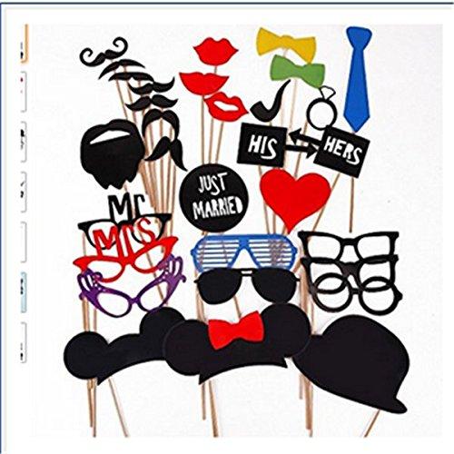 31PCS bunte Requisiten auf einem Stick Favour Moustache Photo Booth Party Spaß Weihnachten HochzeitstagWeihnachts-Foto-Requisiten von 31 festgelegt
