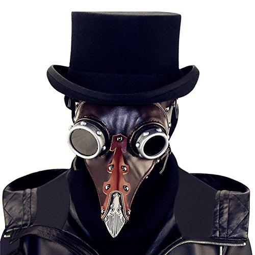 KEHUASHINA Steampunk Halloween Pest Schnabel Doktor Maske PU Mink Vintage Einhorn Masquerade Maske Halloween ()