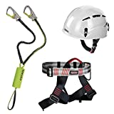 Alpidex Kletterhelm ARGALI + Alpidex Klettergurt TRAD TAIPAN red pepper + Edelrid Klettersteigset Cable Kit Lite 5.0, Farbe:bright white