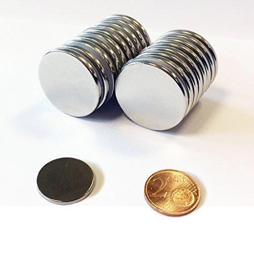 Neodym Magnete 20x2 mm 10 Stück, extra starke Magnete passend für Glas - Magnetboards, Magnettafel, Pinnwand, Kühlschrank, vielseitig einsetzbar, Robust, Scheibenmagnet, Magnetisierung - N45