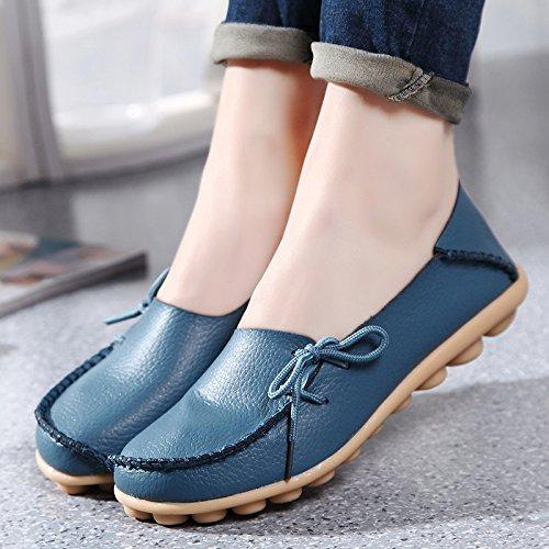 iLory Mocassins Femmes,Loisirs Confort Chaussures Plates Loafers en Cuir Chaussures de Conduite,16 Couleurs Blue Light