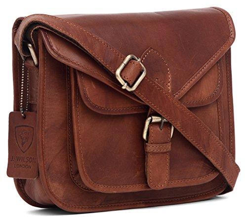 J WILSON London - Designer Genuine Real Distressed Retro Vintage Hunter Leather Handmade Women Ladies Unisex Gypsy Festival Travel Satchel Everyday Crossover Work iPad Shoulder Bag (Tan)