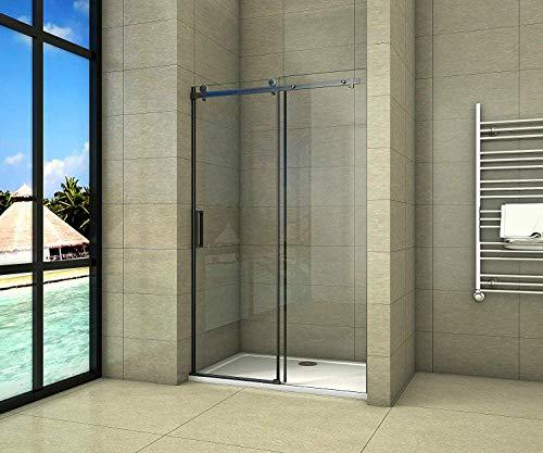Aica Sanitär 120x200cm Duschtür Verstellbereich von 117-120 cm Duschabtrennung Nischentür Dusche Schwarz aus 8mm Sicherheitsglas mit Nanobeschichtung
