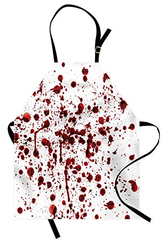 Soefipok Horror-Schürze, Spritzer von Blut Grunge-Stil Blutfleck Horror Scary Zombie Halloween Motto-Print, Unisex-Küchenschürze mit verstellbarem Hals zum Kochen Backen Gartenarbeit, Rot ()
