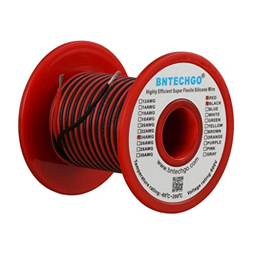 BNTECHGO 24 Gauge Silicone Wire Spool 50 feet Ultra Flexible High Temp 200 deg C 600V 24 AWG Silicone Wire 40 Strands of Tinned Copper Wire 25 ft Black and 25 ft Red Stranded Wire for Model -