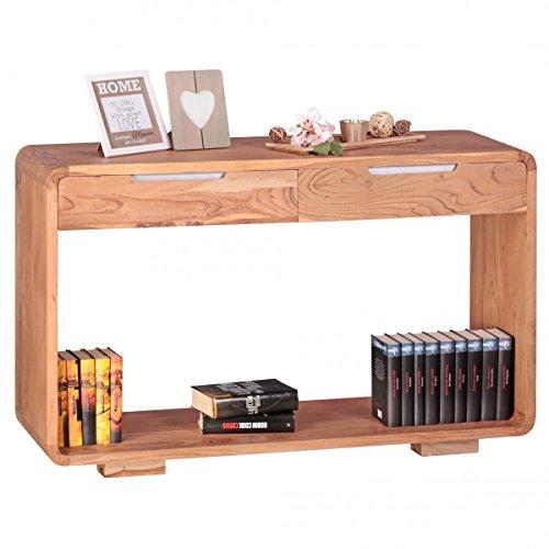 Konsolentisch Massivholz Akazie Konsole mit 2 Schubladen Schreibtisch 119 x 40 cm Landhaus-Stil Sideboard