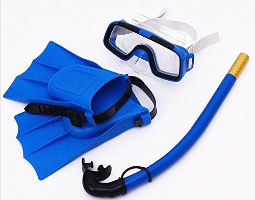 Saflyse Kinder Schnorcheln Set (Taucherbrille + Schnorchel + taucherflossen ) Schnorchel Set Tauchset (blau) -