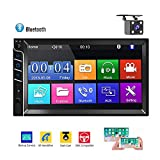 Bluetooth Autoradio 2 Din CAMECHO Touchscreen capacitivo da 7 pollici FM Radio Slot per scheda SD USB AUX-in Supporta Mirror Link per Smart Phone + fotocamera posteriore