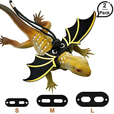 2 Sets Adjustable Lizard Leash Bearded Dragon Harness Safety Walking Leash with Cool Wing Shape 3 Sizes S/M/L