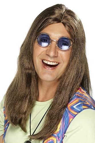 Smiffys, Herren Hippie Perücke mit Seitenscheitel, One Size, Braun, 42217 (Hippie Make Up Und Haare)