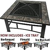 RayGar FP44 3in 1, quadratische Feuerstelle zum Grillen, Eisschale, Terrassenstrahler, Feuerschale, aus Metall, für den Außenbereich, Garten-Feuerstelle mit Keramikfliesen + Schutzhülle (jetzt inkl. Eiswürfelschale)