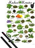 1art1 Poster + Hanger: Kochkunst Poster (91x61 cm) Küchen-Kräuter Inklusive EIN Paar Posterleisten, Schwarz