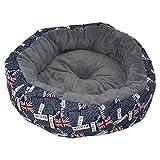 Hundervoll - Hundebett - Tierbett - Britain in Donut Form Luxus waschbar Farbe: Blau-Grau