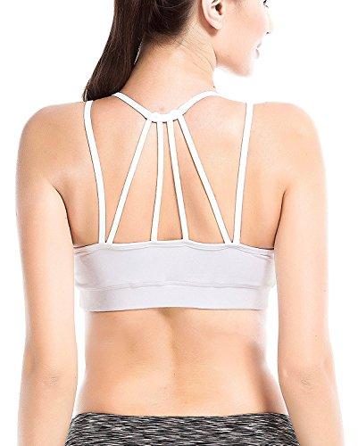 YIANNA Damen Sport BH Seamless mit Einlagen Elastisch Running Yoga Bra Abnehmbare Gepolsterte Crop Top,UK-YA-BRA146-White-S (Crop Cross Top Back)