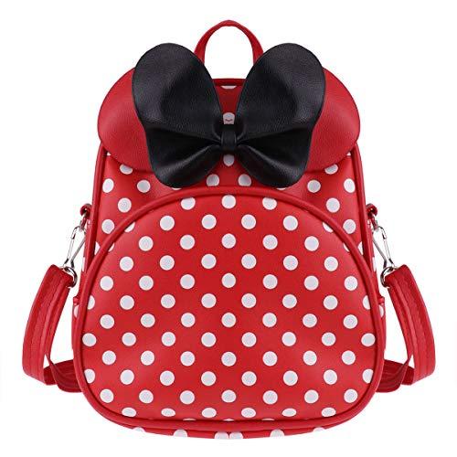 Tiaobug Mädchen Rucksack Mini Pu Leder Backpack Polka Dots Kindergartenrucksack mit Schleife Tasche Schulrucksack süße Umhängetasche Weiß gepunktet Rot One Size