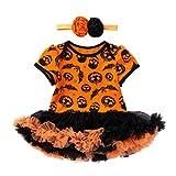 happy event Halloween Kleinkind Baby Mädchen Baumwolle Kürbis Kostüm Kleider Outfits Kleidung Sets Kleider+ Stirnband | Halloween Toddler Infant Baby Girls Pumpkin Romper Dress + headband (6M-66)