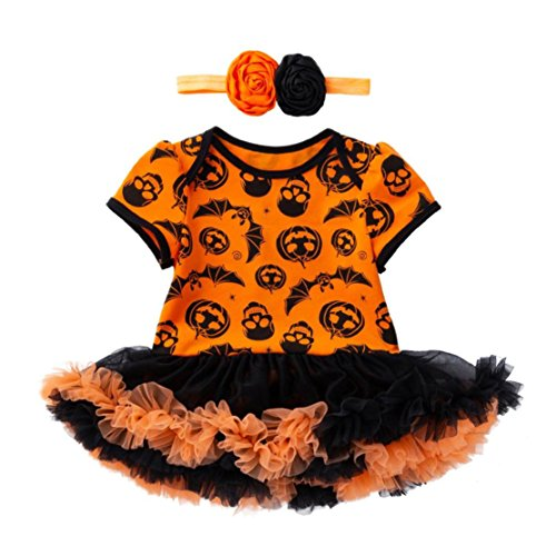 Kleinkind Kostüm Muster - happy event Halloween Kleinkind Baby Mädchen Baumwolle Kürbis Kostüm Kleider Outfits Kleidung Sets Kleider+ Stirnband | Halloween Toddler Infant Baby Girls Pumpkin Romper Dress + headband (12M-73)