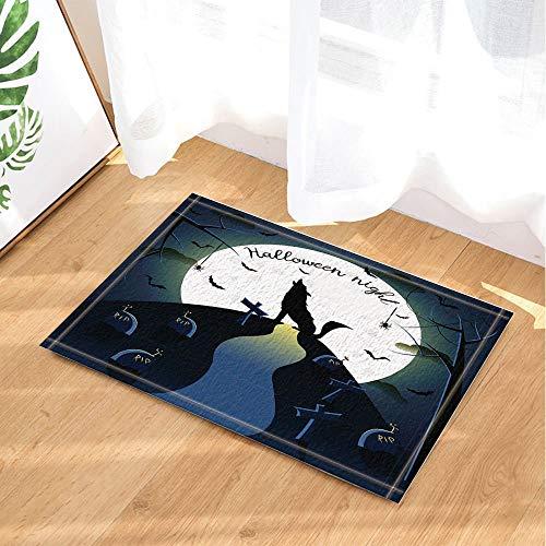 fdswdfg221 Abstraktes Element Dekor Halloween Hintergrund mit Wolf Bad Teppiche Rutschfeste Fußmatte Boden Eingangsbereiche Indoor Haustür Matte Kinder Badematte 60X40CM Badezimmer Zubehör