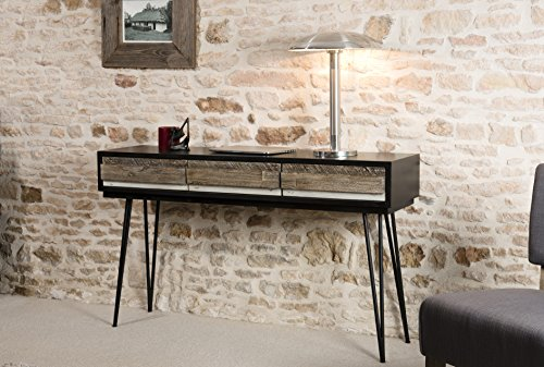 Macabane Console 3 tiroirs Bois, Multi Couleurs, 140,5 x 35 x 81 cm