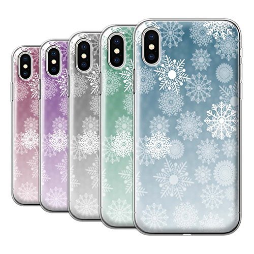 Stuff4 Gel TPU Hülle / Case für Apple iPhone X/10 / Pack 5pcs / Schneeflocke Nebel Kollektion Pack 5pcs