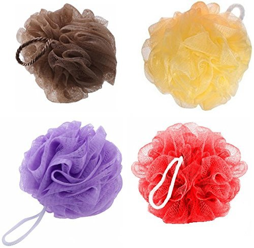 KRIWIN Bath Loofah (Red, Brown, Peach and Purple) - Combo Of 4