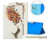 Herbests Cover Samsung Galaxy Tab 4 8.0 T330 T335, Flip Stand Cover Case Libro Disegni Custodia in Pelle Elegante Creativo Pittura Colorate Pelle Copertura Ultra Slim Fit PU Leather Tablet Cover