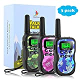 Nestling Walkie Talkie Bambini,8 Canali Ricetrasmittenti 2 Way Radio e VOX Scansione Auto Walky Talky,Torcia con LED (3 Pezzi Camouflage,Rosa,Verde,Blu)