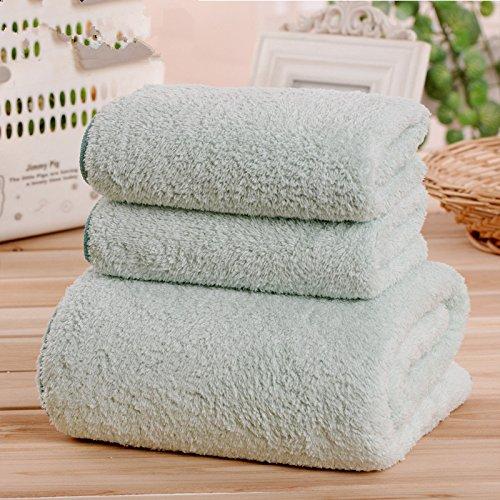 DANCICI (1 Handtücher + 2 Handtuch) Coral Microfaser erwachsene Männer und Frauen Badetuch Soft starken Sog Wasser Handtücher, Hellgrün