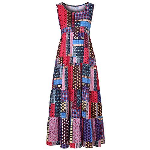 FeiBeauty Damen Vintage Sommerkleid Traeger mit Flatterndem Rock Blumenmuster Frauen lose ärmellose O-Neck unregelmäßigen Druck Retro Casual Dress