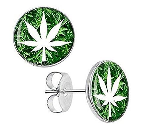 Boucles d'oreilles feuille cannabis fond vert