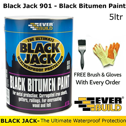 Black Jack 901 | Black Bitumen Paint | By Everbuild | FREE Brush and Gloves | 5 Litres Test
