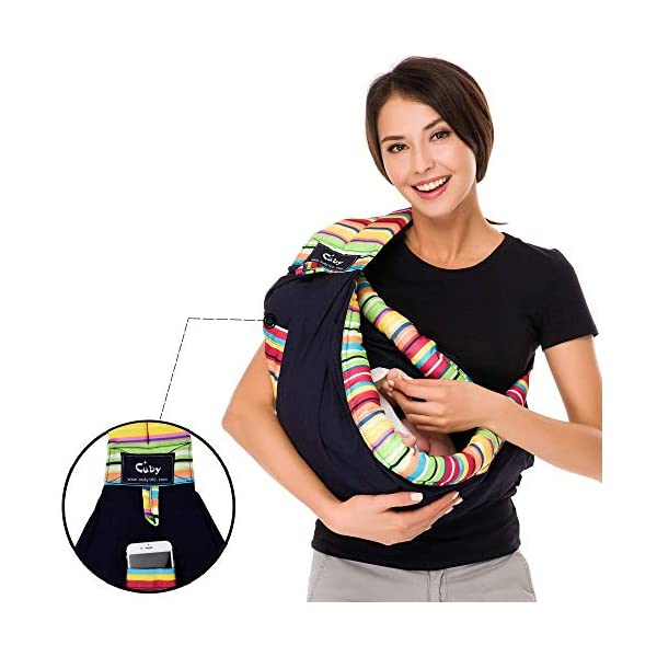 Baby Carrier by Cuby, Natural Cotton Baby Sling Baby Holder Extra Comfortable for Easy Wearing Carrying of Newborn, Infant Toddler and Ideal for Baby Registry (Rainbow) CUBY Durable Weight Baby Sling:Designed to carry babies who are 0 to 36 months old and weighing no more than 44 pounds. Five Different Carrying Positions: Including two perfect and convenient for breastfeeding. Cuby's baby carrier allows you to carry your baby in the same position they used in the womb, gives your baby a familiar sense of security and makes it easy for you to enjoy eye contact to bond with your new bundle of joy. Premium Cotton: The baby carrier by Cuby is made of 100% high quality cotton. It is soft, skin-friendly and breathable. 4