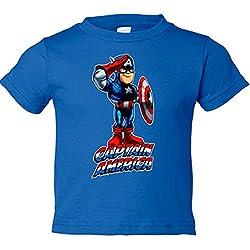 Camiseta niño Capitán América saludo - Azul Royal, 3-4 años