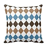 vintage cap Blue, Tan, and Brown Diamond Harlequin Throw Pillow Covers Throw Pillow Case Decor Cushion Covers Square with Invisible Zipper Closure - 18X18 inches, One-Sided Print