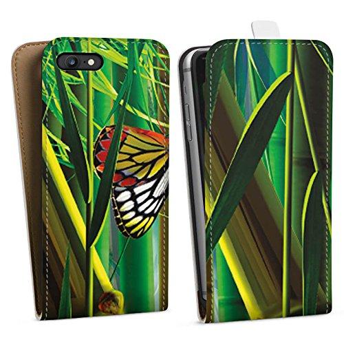 Apple iPhone X Silikon Hülle Case Schutzhülle Bambus Schmetterlinge Natur Downflip Tasche weiß