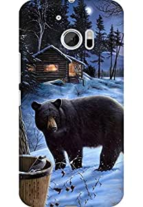 AMEZ designer printed 3d premium high quality back case cover for HTC One M10 (Bear)
