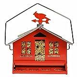 Opus [Perky-Pet] Großes Vogelfutterhäuschen für Wildvögel, Squirrel-Be-Gone II | Aufhängen oder zur Stangenbefestigung im Garten |Füllkapazität 3,6 kg | Mod. 338 | Rot