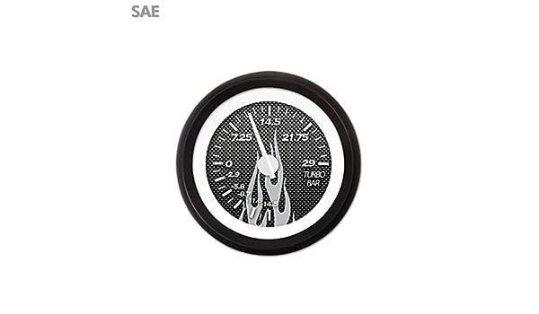 White Modern Needles, Black Trim Rings, Style Kit Installed Aurora Instruments 1820 Carbon Fiber Gray Flame SAE Turbo Gauge