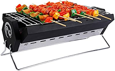 Wolfwise Barbacoa Portable Carboncillo Parrilla De Acero Inoxidable 40 x 20 x 15 cm