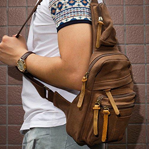 QHGstore Mann-Segeltuch-Kasten-Satz-Beutel-im Freiensport-Schulter-Militär Messenger Bag kaffee