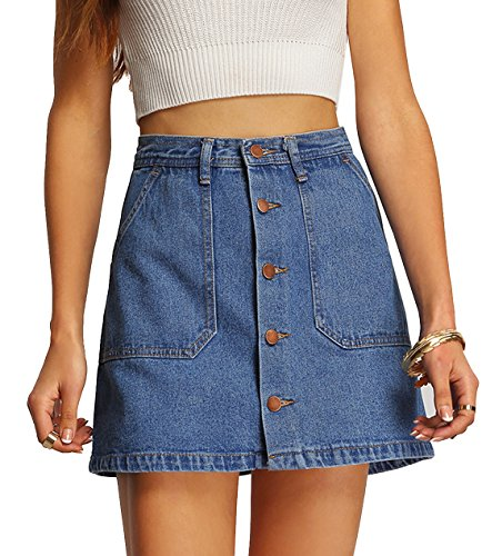 SheIn Gonna in Denim con Bottoni Short Skirt - Blu Medium