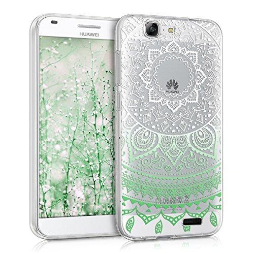 kwmobile Crystal Case Hülle für Huawei Ascend G7 aus TPU Silikon mit Indische Sonne Design - Schutzhülle Cover klar in Mintgrün Weiß Transparent